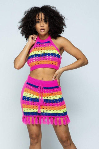 My Bargain Boutique Neon Pink / S Cropped Halter Top/short Skirt Knit 2 Piece Set With Tassels