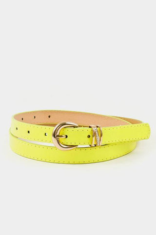 My Bargain Boutique Neon Yellow Buckle Accent Stitch Belt