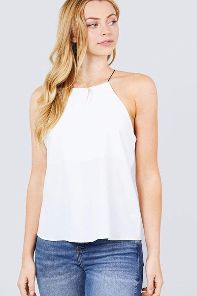 Elastic String Halter Neck Woven Top - My Bargain Boutique - Affordable Women's Clothing