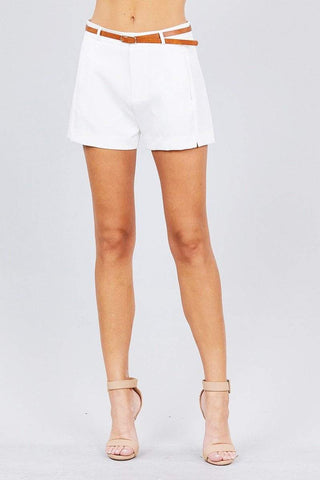 Image of My Bargain Boutique Off White / S Front Slit Hem W/pocket And Belt Short Pants
