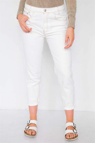 Image of My Bargain Boutique Off White With Brown Stitching Jeans