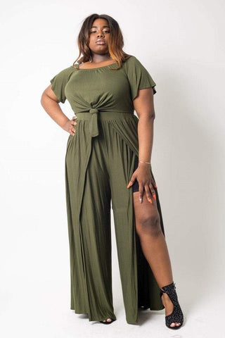 My Bargain Boutique Olive / 1XL Plus Size Crop Top Pant Set