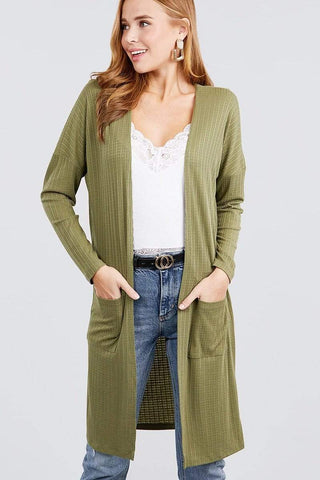 Image of My Bargain Boutique Olive / S Pointelle Cardigan