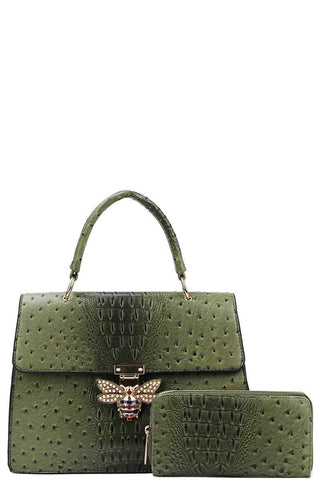 My Bargain Boutique Olive Stylish Insect Buckle Satchel With Matching Wallet