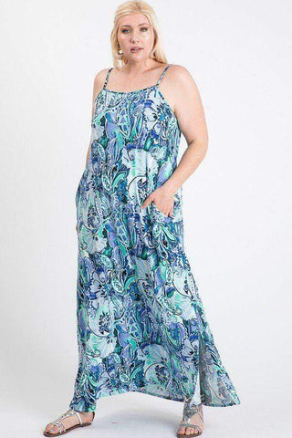 Women's Side Slit Cami Maxi Dress - My Bargain Boutique