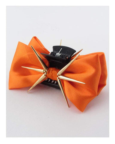 My Bargain Boutique Orange Bow Hair Jaw Clip w/Decorative Spikes