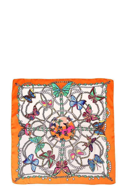My Bargain Boutique Orange Butterfly Silky Bandanna