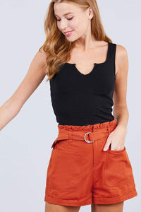 My Bargain Boutique Orange Rust / S Side Pocket Paper Bag Short Pants