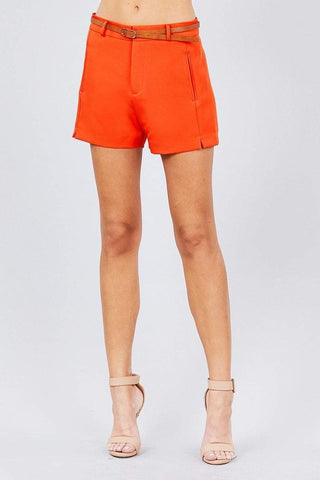 Image of My Bargain Boutique Orange / S Front Slit Hem W/pocket And Belt Short Pants