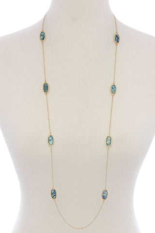 My Bargain Boutique Oval shape stone long necklace