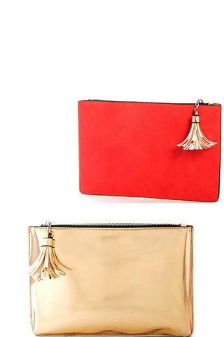 My Bargain Boutique Pale Gold Princess Re Flexion Two Color Clutch Bag