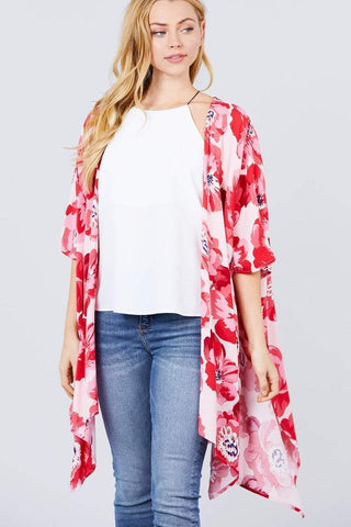 Image of My Bargain Boutique Pink/Red / S Kimono Cardigan