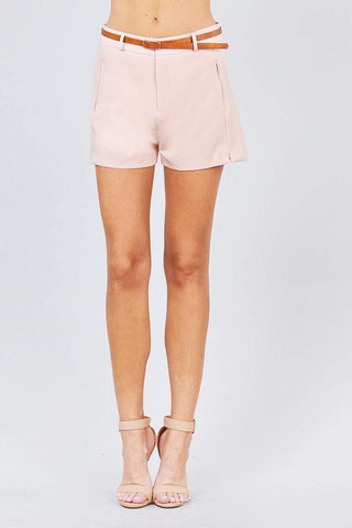 Image of My Bargain Boutique Pink / S Front Slit Hem W/pocket And Belt Short Pants