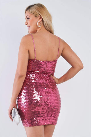 Image of My Bargain Boutique Pink Sequin Bodycon Mini Dress