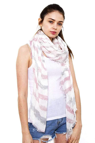 My Bargain Boutique Pink Striped Oblong Scarf