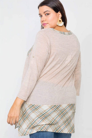 Image of My Bargain Boutique Plaid Combo Top