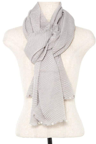 My Bargain Boutique Pleated Pearl and Bead Accent Oblong Scarf