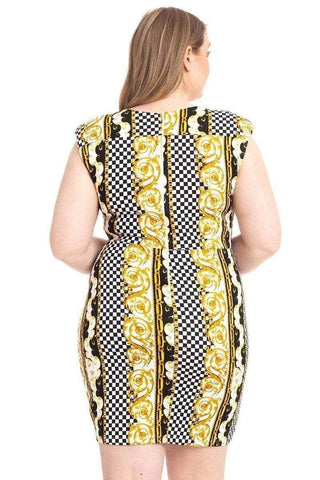 My Bargain Boutique Plus Size Boarder Print  V-neck Bodycon Dress