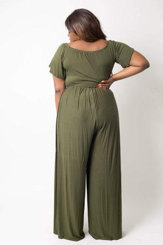 My Bargain Boutique Plus Size Crop Top Pant Set