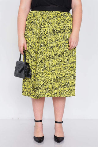 My Bargain Boutique Plus Size Neon Yellow Pleated Animal Print Chic Midi Skirt
