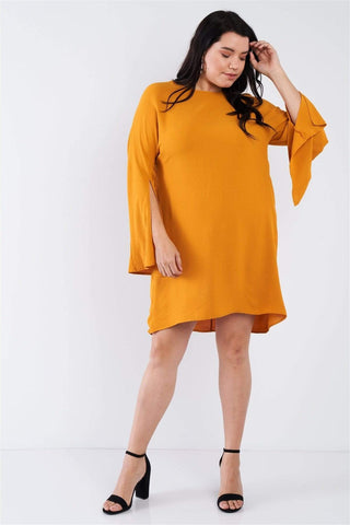 My Bargain Boutique Plus Size Retro Chic Full Slit Sleeve Mini Dress