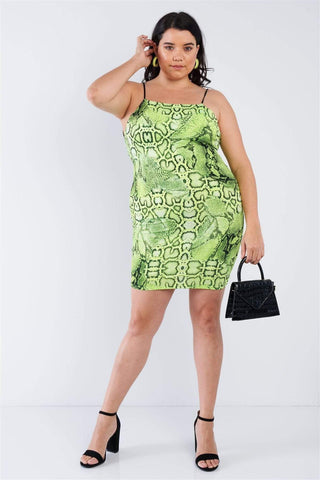 My Bargain Boutique Plus Size Snake Print Open Back Mini Dress