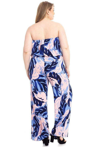 My Bargain Boutique Plus Size Tropical Print Tube Top Flowy  Jumpsuit