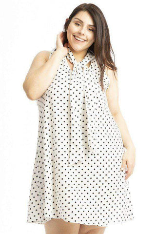 Image of My Bargain Boutique Polka Dots / 1XL Sleeveless Mini Dress