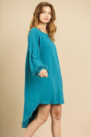 My Bargain Boutique Puff Sleeve Round Neck High Low Dress