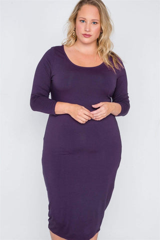 My Bargain Boutique Purple / 1XL Basic Bodycon Midi Dress