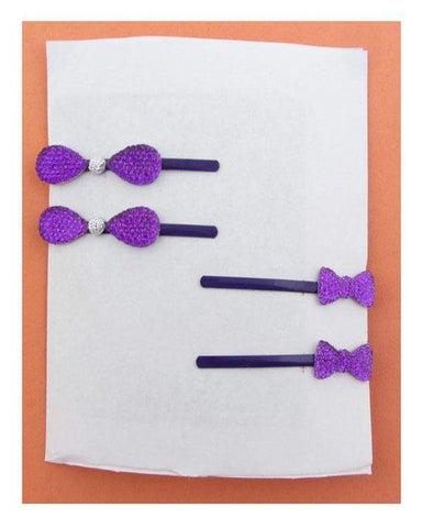 My Bargain Boutique Purple Rhinestone Bow Hair Pin