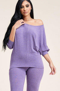 My Bargain Boutique Purple / S Solid French Terry Slouchy Top And Pants Two Piece Set
