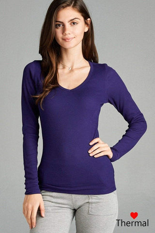 My Bargain Boutique Purple / S V-neck Thermal Top