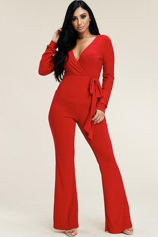 My Bargain Boutique Red / 1XL Jumpsuit With Tie Waist