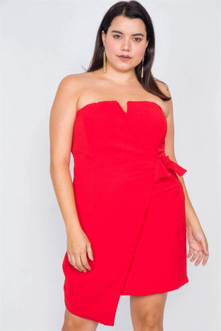 Image of My Bargain Boutique Red / 1XL Mock Wrap Mini Chic Dress