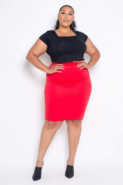 My Bargain Boutique Red / 1XL Pencil Midi Skirt