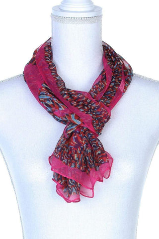 My Bargain Boutique Red Colorful Pattern Oblong Scarf