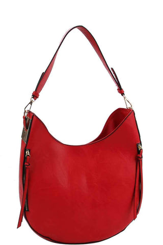 My Bargain Boutique Red Fashion Chic Trendy Hobo Bag With Long Strap
