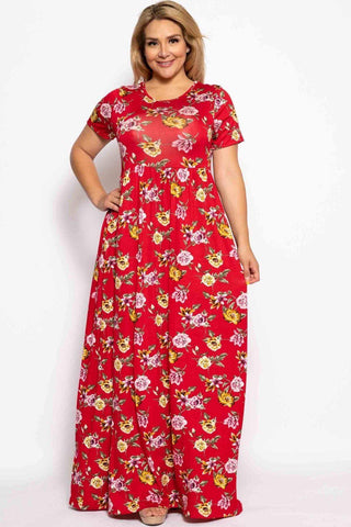 Image of My Bargain Boutique Red Floral / 1XL Summer Sun Dress