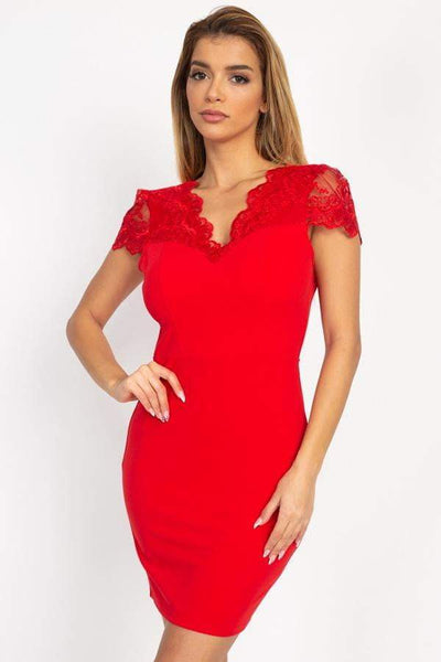 My Bargain Boutique Red / S Floral Lace Mini Dress With Back Cutout