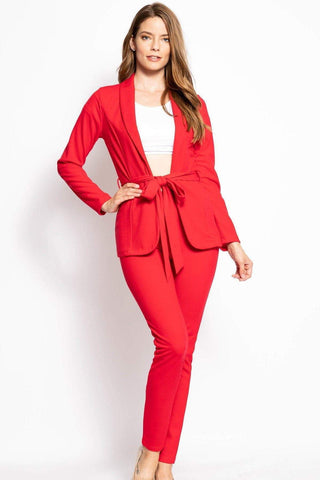 Image of My Bargain Boutique Red / S Solid, 2 Piece Pants Set