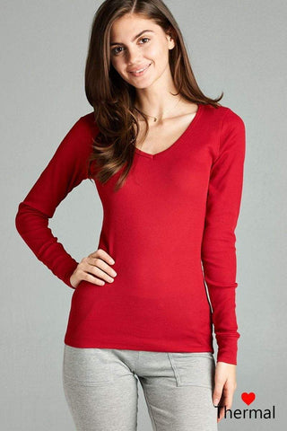 My Bargain Boutique Red / S V-neck Thermal Top