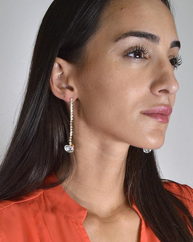 My Bargain Boutique Rhinestones and Crystal Studded Drop Earrings