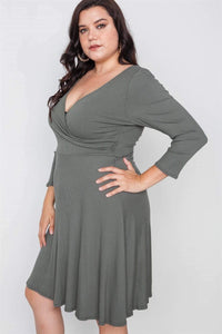 My Bargain Boutique Ribbed V-Neck Dress