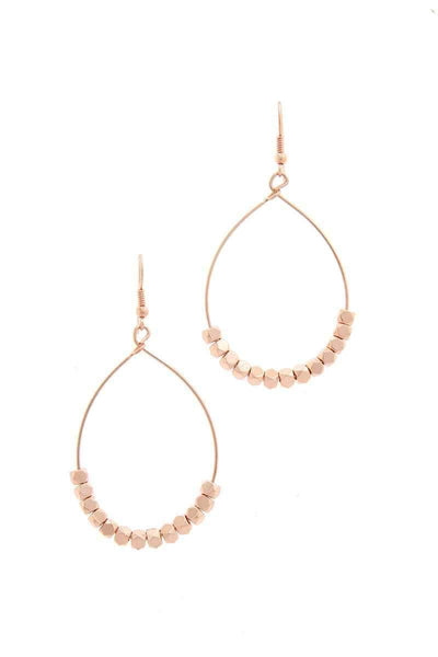 My Bargain Boutique Rose Gold Beaded Metal Drop Earring