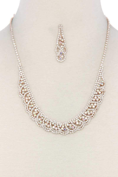 My Bargain Boutique Rose Gold/Multi Rhinestone Necklace