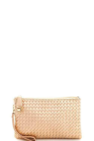 My Bargain Boutique Rose Gold Woven Clutch Crossbody Bag With Two Straps