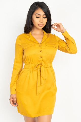 My Bargain Boutique Rtn Bttn Belted Shirts Dress