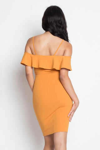 Image of My Bargain Boutique Ruffle Open Shoulder Halter Dress