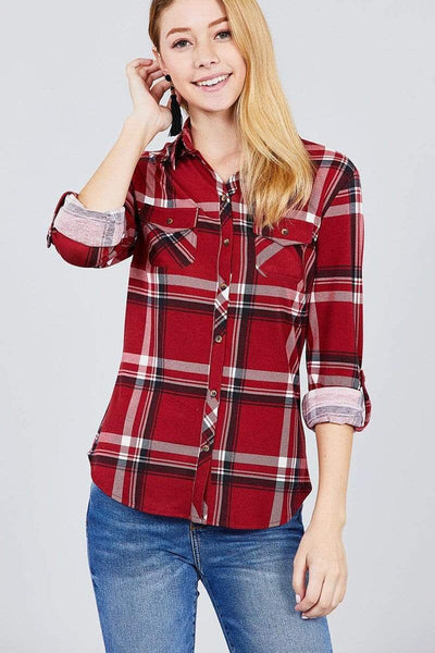 My Bargain Boutique S 3/4 Roll Up Sleeve Front Pocket Detail Plaid Check Print Stretch Knit Shirts